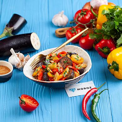 Аджапсандал из грузинской смеси овощей