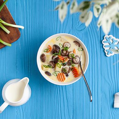 Сливочный суп с грибами шиитаке